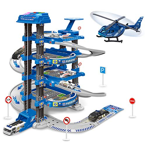 UNIH Kids Garage Toy Set, Toy Vehicle Garage for Toddlers, Race Car Ramp Track Toy, Parking Garage Playset Toy with Play Mat(Blue)