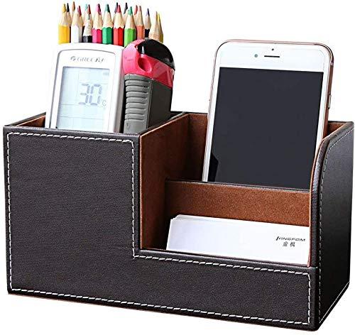 PUレザーデスクステーショナリーオーガナイザー収納ボックスペン/鉛筆スタンドリモコンホルダー