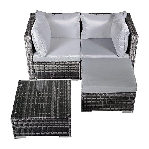 Hansson Polyrattan Gartenmöbel Lounge Set Sitzgruppe Garnitur Poly Rattan inkl. Sofa Sessel Kissen Hocker Tisch mit Glas (2 x Ecksofa, 1 x Tisch & Hocker)