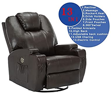 SUNCOO Massage Recliner Bonded Leather Chair Ergonomic Lounge Heated Sofa with Cup Holder 360 Degree Swivel (Power Recliner-Brown-13 IN 1)