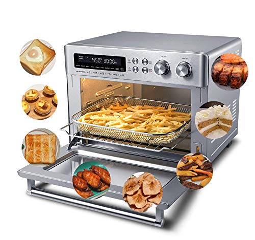 Toaster Oven Air Fryer Countertop, Digital Convection Pizza Oven Dehydrator Combo, 10-in-1 Multi Function, Large 26.5 QT Capacity, Stainless Steel, 1750W