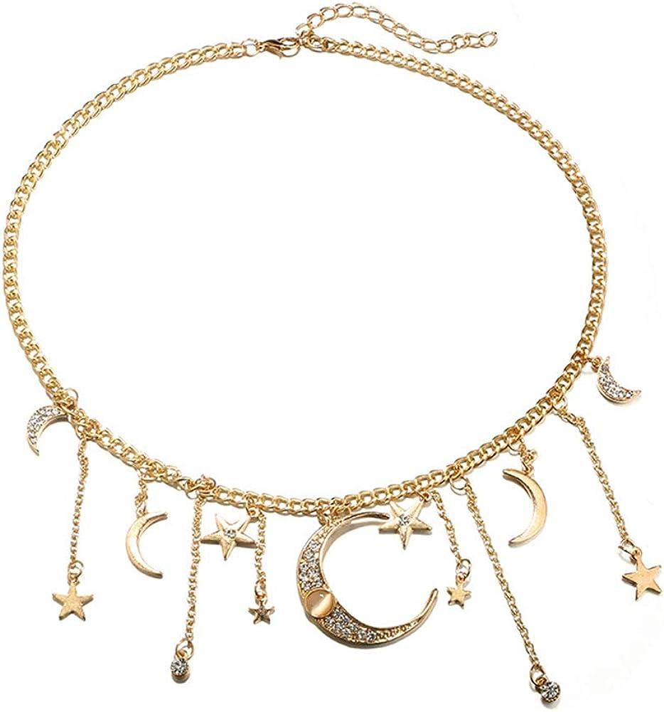 litymitzromq Gold Tone Necklace for Women Girls, Boho Women Shiny Rhinestone Star Moon Tassel Charm Pendant Collar Necklace Gift Handmade Gold Pendant Choker Long Choker Chain Pendent Necklace