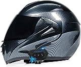 ZLYJ Bluetooth Casco para Motocicleta,Casco Modular Casco Cara Completo Casco Moto Integral con Anti-Niebla Doble Visera, Manos Libres MP3 FM, ECE Homologado F,L