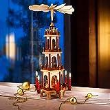 Spielwerk Pirámide XL de Madera con hélices y Figuras Decorativas rotativas Adorno decoración Interior Exterior Navidad