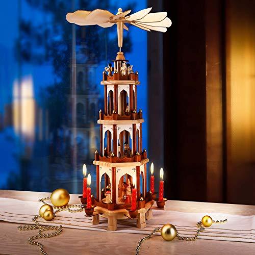 Spielwerk Weihnachtspyramide XL Classic 4-stöckig drehbar Holzpyramide aus Echtholz Weihnachtsdekoration handbemalt Weihnachten