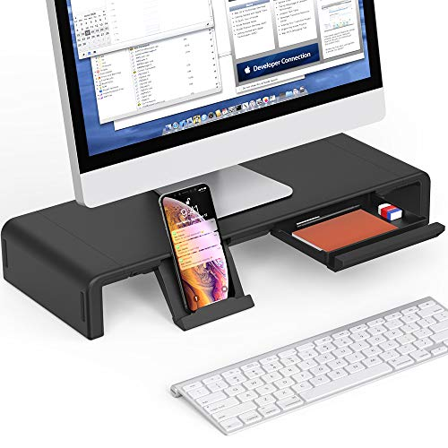 Foldable Monitor Stand Riser, Computer Laptop Riser Shelf with Organizer Drawer, Adjustable Length, Speaker TV PC Laptop Computer Screen Riser Desk Organizer, EURPMASK(Black)