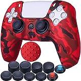 9CDeer 1 x Silicona Transferir Impresión Protector Grueso Cubrir Piel + 10 Apretones de Pulgar para Playstation 5 / PS5 / Dualsense Mando Pintar rojo