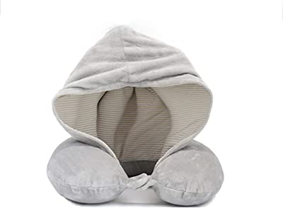 BFQ-ZT Hooded Neck Travel Pillow U Shape Slow Rebound Memory Cotton Hood Pillow,Office Travel Cervical Pillow Airplane Neck Support Cushion with Hoodie