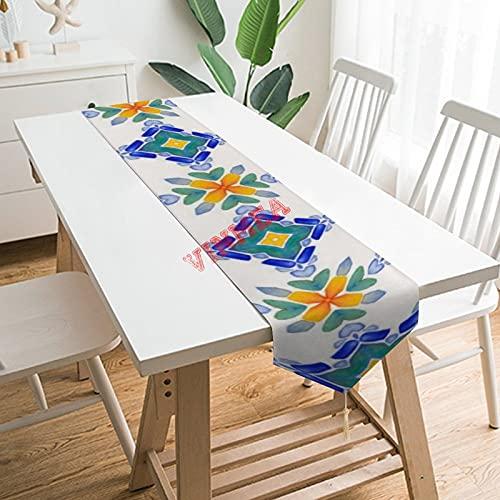 Camino de mesa bufandas, blanco naranja, azul y verde, patrón de mosaico de azulejos de mesa para el hogar, cocina, cena, boda, eventos, decoración - 33 x 222 cm,