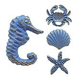 Lemonadeus Unique Coastal Sea Life Starfish,Crab,Seahorse,Shell, Cast Iron Drawer Pulls/Knobs, Drawer Handle(Set of 4) (Retro Blue)