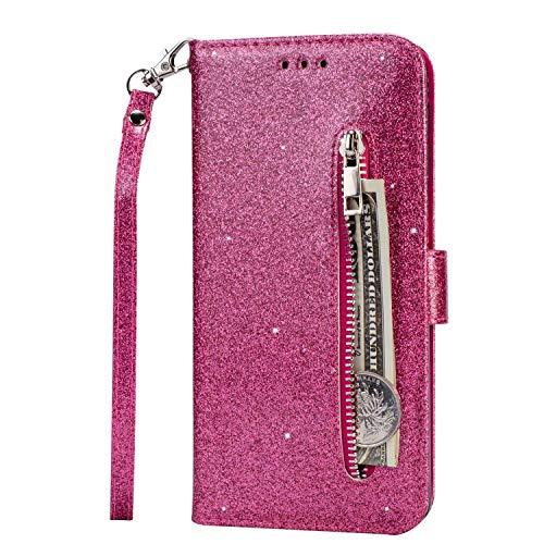 Lijc Kompatibel mit Samsung Galaxy A11/M11 Hülle Glitter Reißverschluss PU Leder Portemonnaie mit Standfunktion und Kartenfach Magnetverschluss Stoßfester Flip-Rosenrot