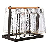 OUTFANDIA Mug Cup Drying Rack Stand with Detachable Drain Tray,Drinking Glass and Metal Bottle,Organizer with Wood Handle, 6 Cups Drying Rack Stand,for Home Kitchen Countertop, Cabinet, Pantry
