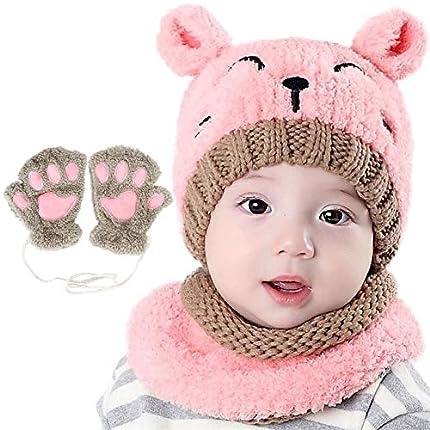 Bearbro Bufandas del Bebé, Invierno Niño Niña Sombrero y Bufandas otoño Invierno niños niñas Punto Gorras y Bufanda Guantes Traje de Tres Piezas