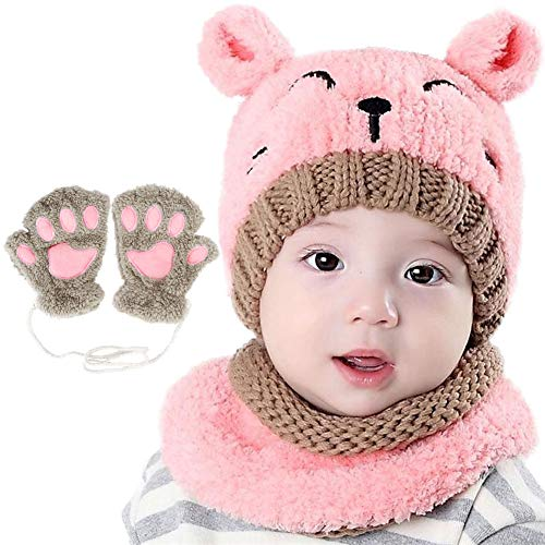 Azarxis Baby Knitted Hat Scarf Mittens Set Winter Cold Weather Warm Fleece Girls Fox Beanies Neck Warmer and Mitten Set Pompom Hat for Little Toddler Baby Unisex Age 1-4