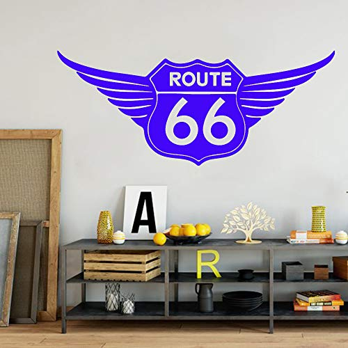 yuandp Route 66 Logo flügel Wand Auto Laptop Aufkleber Garage berechnung Flug 66 verkehrszeichen Nummer straße autofenster wandaufkleber Vinyl dekorative trompete 90 * 36 cm