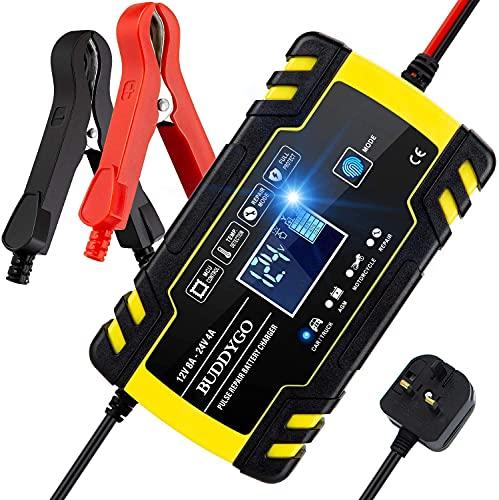 BUDDYGO Car Battery Charger, 12V/24V 8Amp Intelligent Automatic Battery...