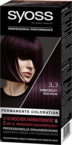 SYOSS Coloration Stufe 3 3_3 Dunkelviolett, bis zu 10 Wochen Farbintensität, 3er Pack (3 x 115 ml)