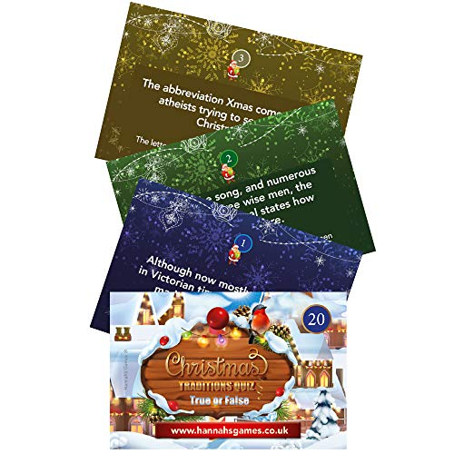 Christmas Traditions Game Pocket Quiz Trivia - 20 True or False Christmas Games Question Cards- Family Table Or Xmas Eve Box Or Cracker Fillers Or Advent Calendar Card Fun for Adults/Family/Kids