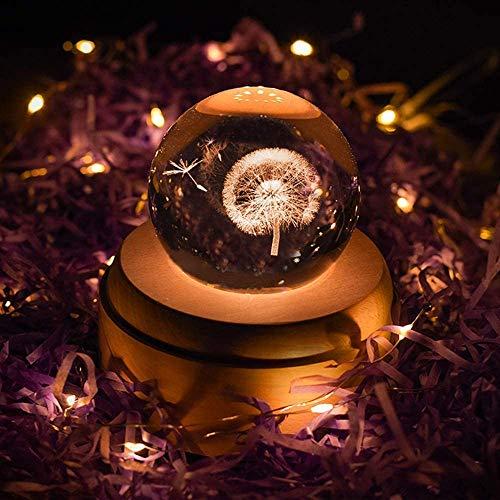 Projektion LED Licht-3D Kristall Kugel Spieluhr Leuchtend Rotierende Spieluhr Holzbasis Bestes Geschenk für Geburtstag Weihnachten (Pusteblume)