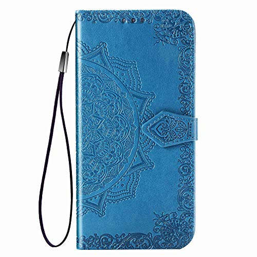 Fertuo Hülle für Huawei P Smart Z/Honor 9X, Handyhülle Leder Flip Hülle Tasche mit Kartenfach, Magnet & Standfunktion [Mandala] Schutzhülle Ledertasche für Huawei P Smart Z/Honor 9X, Blau