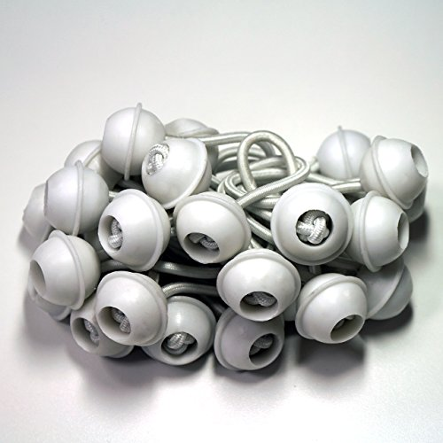 TOOLPORT 50 Stück Set Gummischlaufen Spanngummis zum Befestigen von Planen - Zeltgummis Expanderschlingen Bungees Spanner Planenspanner für Partyzelt Pavillon Zelt - weiß, kurz