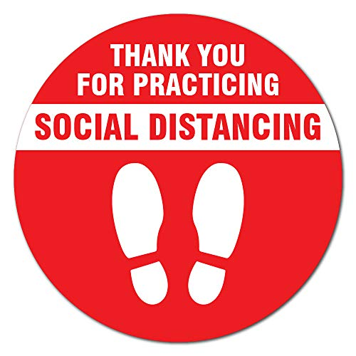 SignMission Coronavirus Thank You for Social Distance Red Non-Slip Floor Graphic | 12 Pack of 11' Vinyl Decal | Protect Your Business, Work Place & Customers | Made in The USA (FD-C-11-12PK-99993)