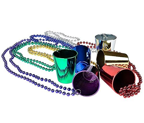 Rhode Island Novelty Mardi Gras Shot Glass Beads 1 Dozen