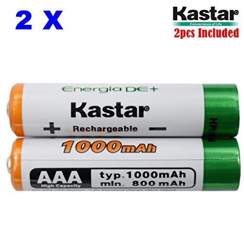 Kastar AAA 2-Pack Ni-MH 1000mAh Super High-Capacity Rechargeable Battery Pre-Charged for Panasonic HHR-4DPA HHR-55AAABU HHR-65AAABU, Out Door Solar Light, Solar Spinner, Solar Power Unite, Path Light