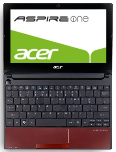 Acer Aspire one D255E 25,65 cm (10,1 Zoll) Netbook (Intel Atom N455, 1,6 GHz, 1GB RAM, 250GB HDD, Intel 3150, Bluetooth, Win 7 Starter) rot