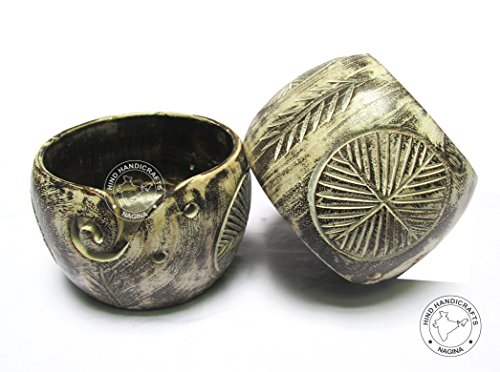 Premium Solid Dark Hard Wood Flowers-Leaves Crafted Wooden Portable Antique Whitewashed Yarn Bowl  ...
