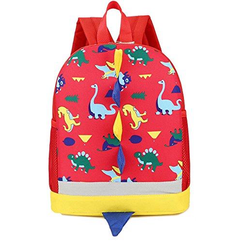 LEEDY Mochila para niños escolar, niña, bebé, niño, diseño de dinosaurios, impermeable, mochila escolar, mochila de día (roja)