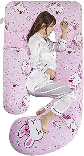 Yvelife Almohada de Embarazo, G y Almohada en Forma de Maternidad y Cuerpo para Dormir con Cubierta de Terciopelo Lavable Apoyo Almohada y Regalos de PREGANCY para Mujeres Embarazadas-Conejo Rosa