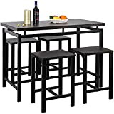 5 PCS Bar Table and Chairs Set,Wooden Height Dining Table with 4 Charis The Bar, Breakfast Nook, Kitchen Room, Dining Room and Living Room (Black)