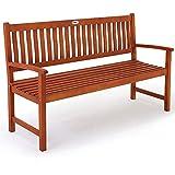 Deuba Gartenbank Maxima 3-Sitzer FSC-zertifiziertes Eukalyptusholz In- & Outdoor Holzbank Sitzbank Parkbank Bank