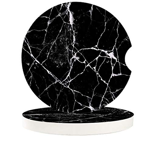 2 Pack Car Coaters for Drinks, 2.56' Absorbent Auto Cup Holders Coasters with Finger Notch, Black Marble Stone Car Cupholder Absorbent Coaster Set for Women Men