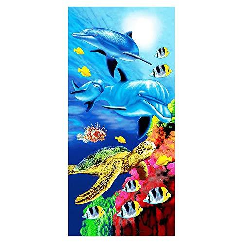 Stillshine Infantiles Toallas de Playa Microfibra 3D Oceano Delfín Tortuga Pescado Toalla de Baño Toalla Estera de Playa para Niño Adulto Yoga Sauna Surf Travel 70 x 150 cm (D)