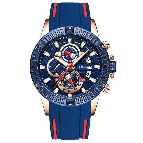 Herren Schwarz Uhren Männer Militär Wasserdicht Sport Groß Chronograph Quarz Armbanduhr Mann Mode Datum Kalender Geschäft Uhr (Blau 2)