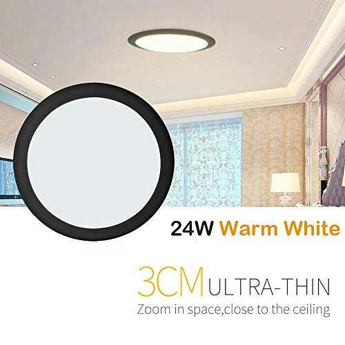 LED Deckenleuchte Warmweiss, 24W Ultra Dünn Rund Wandleuchte, 120 Abstrahlwinkel, LED Deckenlampe für Wohnzimmer, Schlafzimmer, Flur, Badezimmer