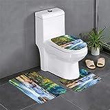 FFLSDR Juego de alfombras de baño de Tanque de Peces de Fondo de Acuario, Alfombra de baño de Franela Suave de 3 Piezas, Alfombra de Contorno, Cubierta de Tapa de Inodoro, Juego de Alfombra de baño