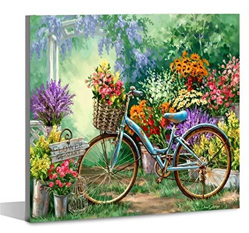 Fuumuui Kit de Pintura por Números Lienzo con marco Lienzo digital Pintura al óleo Regalo para niños, estudiantes, adultos Principiantes Rueda de flores 16 * 20 pulgadas