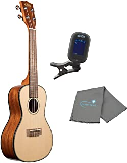 Kala Solid Spruce Mahogany Concert Ukulele with a Gloss Finish Bundle includes a Kala Tuner and Lumintrail Polishing Cloth
