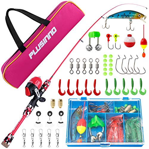 PLUSINNO Kids Fishing Pole with Spincast Reel Telescopic Fishing Rod Combo
