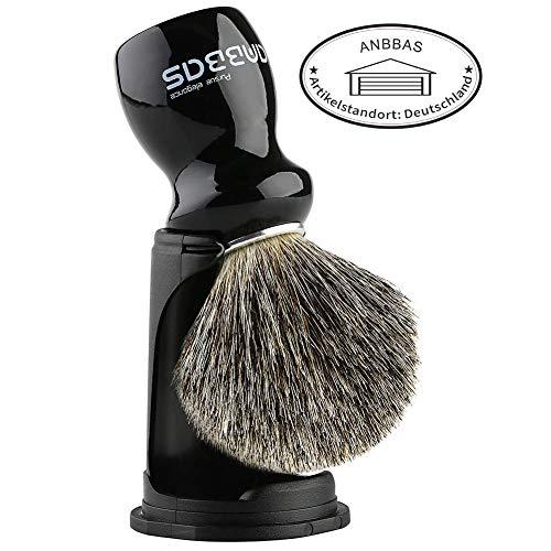 Rasierpinsel mit schwarz Halter Anbbas echtes Dachshaar hochwertiger Holz Griff Rasierschaum Pinsel Luxus Herren perfekt für die Rasur (Schwarz)
