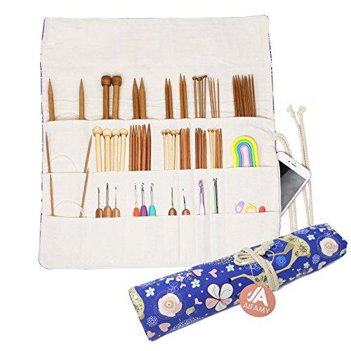 Knitting Needles Holder Case Rolling Organizer for Crochet Hooks Accessories, Mother's Day Gift...
