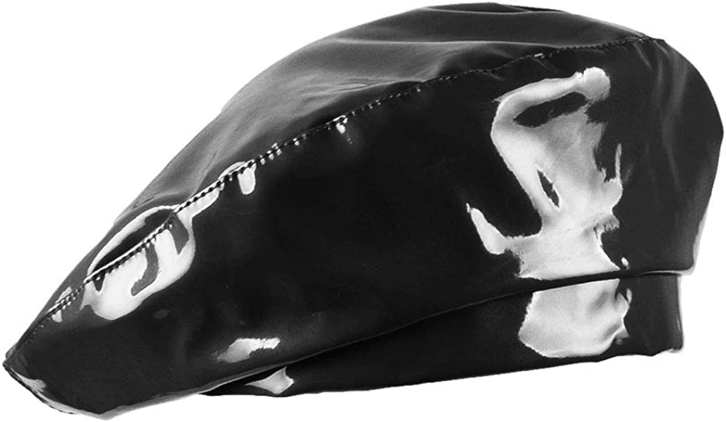 UTALY Patent Leather French-Beret Hat PU Dancing Cap Captain Women