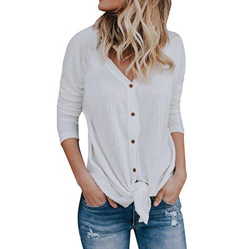 WARMWORD Camisa de Mujer con Cuello en V De Las Mujeres Suelto...