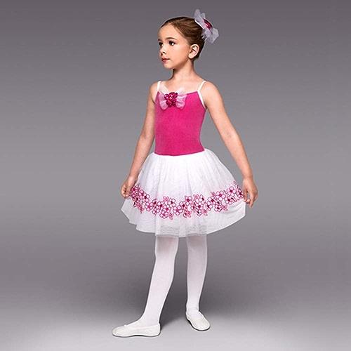 JIE. Tutu-Girl Ballet Velours Danse Robe Costume brodé Net Jupe Sling Dress Costume, Rose Rouge,IC