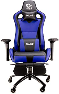 Talius Caiman Silla Gaming Profesional con reposapiés Extraible, Inclinación y Altura Regulable, reposabrazos 4D Ajustables (Azul)
