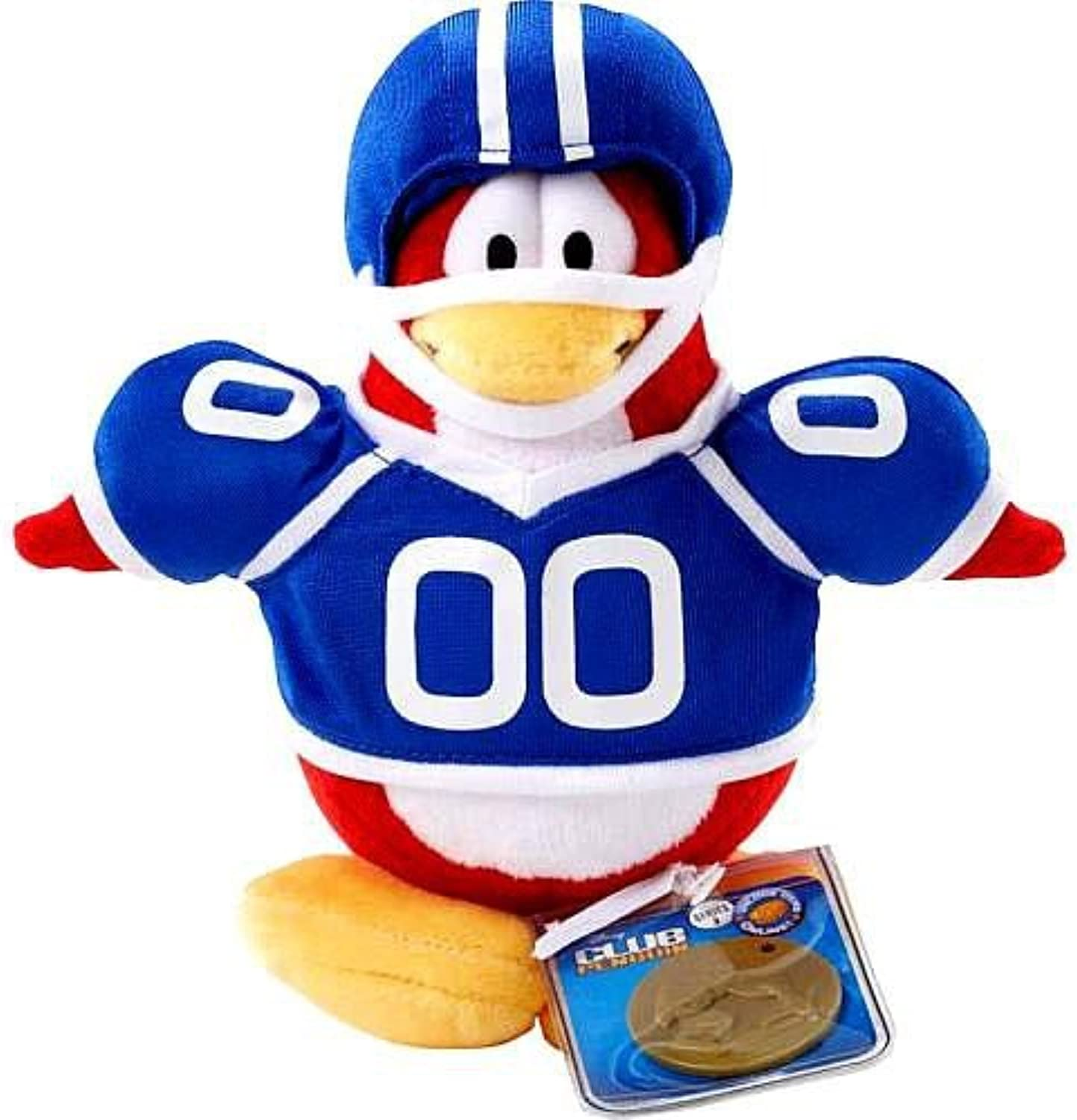 Disney Club Penguin 6.5 Inch Series 2 Plush Figure Football Player (Includes Coin with Code )