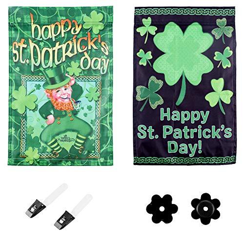 St Patrick's Day Garden Flags - 2 stuks dubbelzijdige Ierse groene hoed Shamrocks klaver tuin Banners werf vlaggen 12